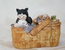More details for very rare peter fagan cat hs417 'a stitch in time' c1987 in sewing basket vgc!