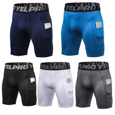 YEL PRO Mens Tight Shorts Pocket Fitness Cross Training Gym Jogging Underwear