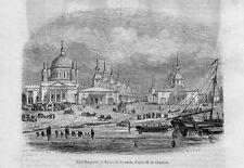 Stampa antica NIZNIJ NOVGOROD veduta Russia 1854 Antique print античный печать
