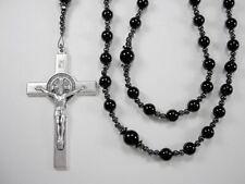 "Mens Black  28"" XXLong w/3"" Crux Rosary Black Onyx Gems Rosario Collar Masculino"