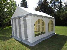 Partyzelt Gartenzelt Pavillon Zelt 3x4m grau-weiß PVC wasserdicht - Stahlgestell