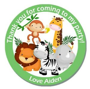 Personalised Animal Jungle Birthday Stickers Party Thank You Sweet Cone Bags x24