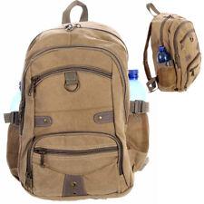 Rucksack Canvas Backpack für Urlaub Freizeit Wandern Sport und Schule Khaki