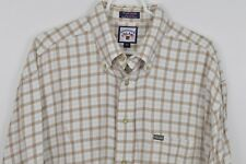 Faconnable XL Plaid Shirt Button Down Long Sleeve Cotton Cream Taupe Blue