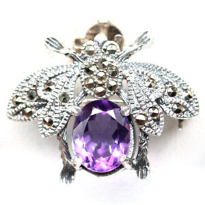 NATURAL 8 X 10 mm. PURPLE AMETHYST & MARCASITE 925 STERLING SILVER INSECT BROOCH
