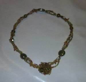 Vintage Green and Amber Colour Bead Necklace