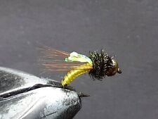 1 DOZEN  TUNGSTEN HEAD YELLOW NYMPHS FOR FLY FISHING-TUNG 177