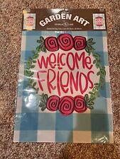 Nip Spring Summer Blu & Wht Plaid Welcome Friends Roses Mini Garden Flag 12�x18�
