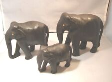 3 Carved Wood Elephants From India - Papa, Mama & Baby