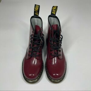Dr Martens Cherry Red Patent Leather 8 Eye Boots Women's Size 8 Like New
