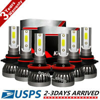 9005 9006 H11 Combo CREE LED Headlight Fog Kits Bulb 6000K White High Low Beam