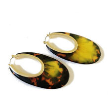 Pendientes Dorado Criollo Anillo Oval Color Tortuga De Carey Grande QD3