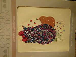 Meyercord Vintage Water Applied Decals Transfers Calico Cats New NOS