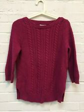 Ladies Jackpot Magenta Pink Cable Knit Winter Jumper Size Small #R8-CF