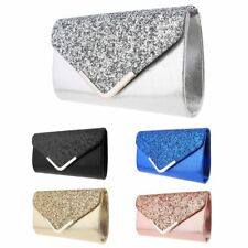 Women Glitter Shimmer Clutch Bag Ladies Wedding Party Prom Glamour Wedding Purse