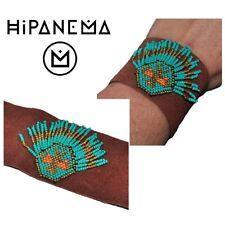 HIPANEMA Bracelet Cuff Leather Return Brown Pearl Turquoise Golden Jewel