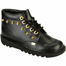 Kickers Flat (less than 0.5') 100% Leather Boots for Women