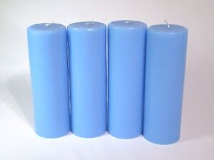 "2""x 6"" Pillar Candle, Soft Blue color   UNSCENTED Package of 4 This n That"