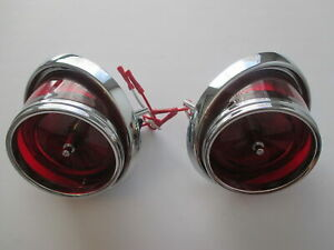 65 CHEV IMPALA TAIL LIGHT ASSEMBLIES NEW 1965 PAIR RED LENS WITH TRIM BULLET
