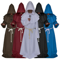 Friar Medieval Hooded Monk wizard Priest Robe Cloak Cowl Cosplay Costume