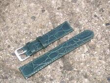 Reloj de Pulsera Verde Oscuro 18mm Cocodrilo Grano Correa de piel de becerro no Acolchado