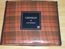 """NEW CREMIEUX TREVOR PLAID TWIN BED SKIRT DUST RUFFLE 39""""x75""""x16""""  RED"""
