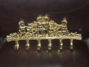 large Brass 8 inch Cherub Wall 6 Hook  Victorian Style Key Rack Holder