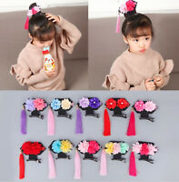 Girls Kid Children Retro Chinese new year Princess QIPAO Costume match hair Clip