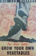 A3 World War II Propaganda Poster GROW YOUR OWN VEGETABLES Garden Food spade dig