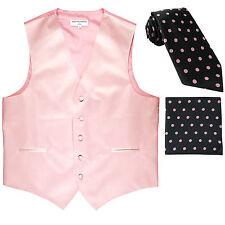 New Men's Formal Vest Tuxedo Waistcoat & Pink Dot Necktie & Hankie set wedding