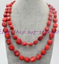 """Natural Pretty Irregular Red Coral Gemstone Necklace 36"""""""