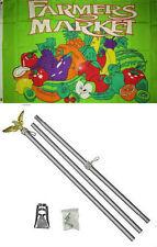 3x5 Advertising Farmers Market Produce Flag Aluminum Pole Kit Set 3'x5'