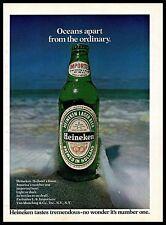 1974 Heineken Beer Vintage PRINT AD Holland Lager Bottle Ocean View Beach 1970s