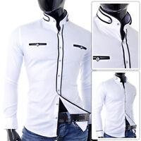 Mens White Shirt Grandad Collar Slim Fit 100% Cotton Casual Formal Black Finish