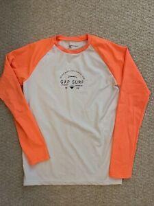 NWOT GAP Boys UPF 40+ Long Sleeve Rashguard/Active White/Orange Size XXL (14-16)