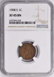 1908-S Indian Cent : NGC XF45BN