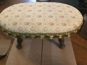 """Vintage Antique Foot Stool Oval 16""""x9""""- 8""""Tall"""