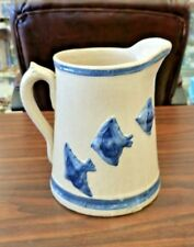 ANTIQUE THREE BIRDS STONEWARE BLUE BAND PITCHER WHITE HALL - MARVELOUS