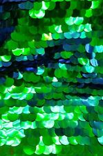 Paillette 20mm Sequin Iridescent Green, blue On Green Mesh Base Sold By Yard