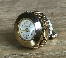 Vintage COROCRAFT Mechanical Swiss Made Watch Fob Pendant Pearl Style Stones