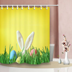Easter Bathroom Shower Curtain Bunny Ears and Eggs Desgin 12hook 71*71inches