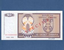 CROATIA / Krajina 10 Dinara 1992 Specimen aUNC  P. R1s