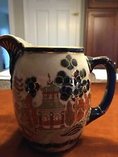 Antique and Rare, 1909 Buffalo Pottery Pitcher, Gaudy Blue Willow, Chicago Jug