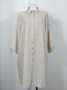 Grizas 100% linen beige shirt dress size XXL