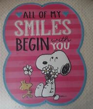 Open Road Indoor Metal Sign - Love Friendship SMILES - Peanuts Snoopy Woodstock
