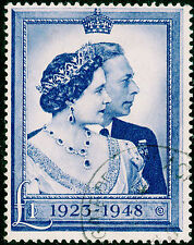 Sg494, £1 blue, FINE used. Cat £40.