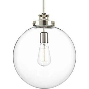 "Progress Lighting Penn 12"" 1-Light Polished Nickel Large Pendant w/Clear Glass"