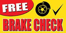2'x4' FREE BRAKE CHECK BANNER SIGN fix repair brakes auto car shop mechanic