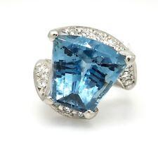Fancy Shape AQUAMARINE & DIAMOND Ring TW 8.70 ct in Platinum - HM1410