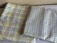 Vintage Mixed Lot (2) Pastel Plaid Cotton Fabric Remnant Cutter Crafts Sew Quilt
